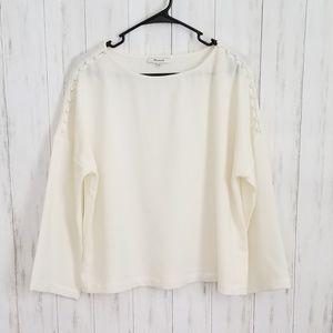 Madewell Cream Long Sleeve Blouse